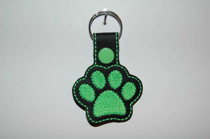 Hondenpootje zwart/neon groen
