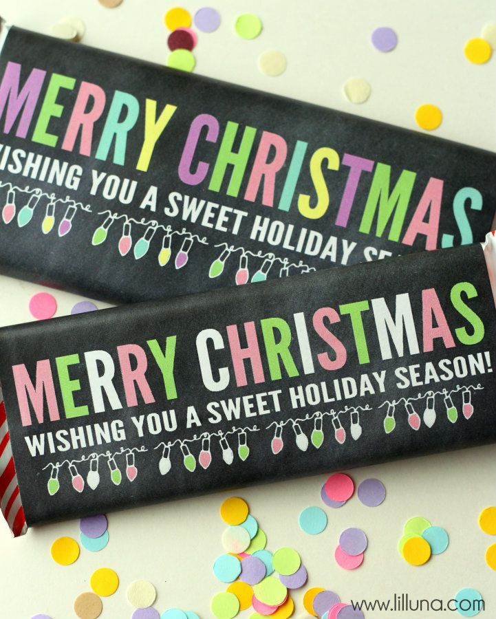 Free merry christmas candy bar wrappers cute but inexpensive gift idea lillunacom for Candy bar wrapper ideas