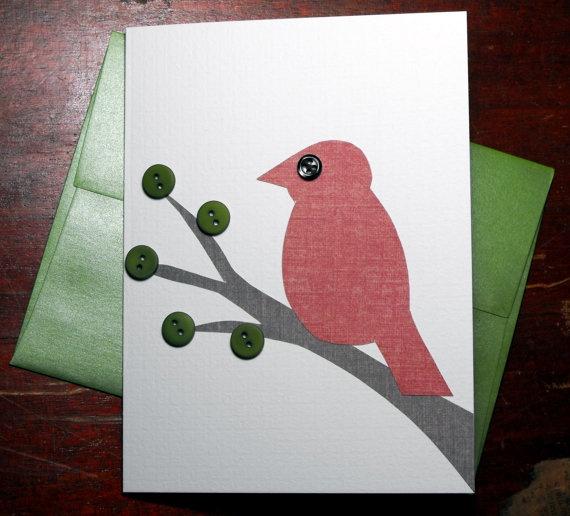 $3.50 Red bird greeting card.