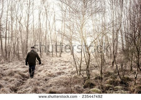 Old Man Taking A Morning Walk In Misty Nature Stock Photo 235447492 : Shutterstock