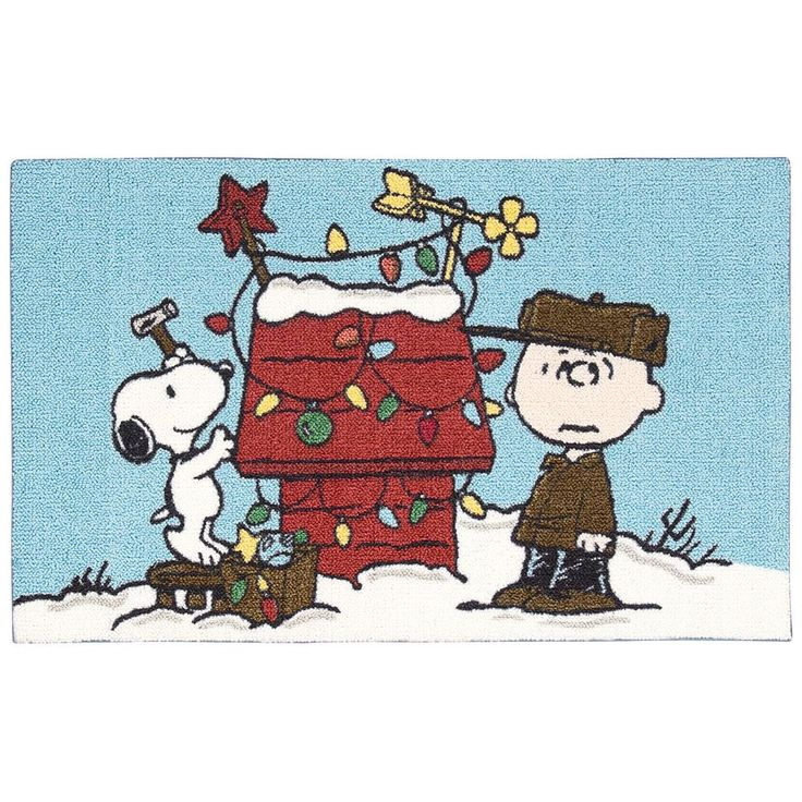 """Peanuts Holiday Snoopy and Charlie Brown Accent Rug - 20"""" x 32"""", Blue"""