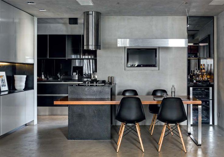 Cozinha integrada a sala, revestimento de cimento