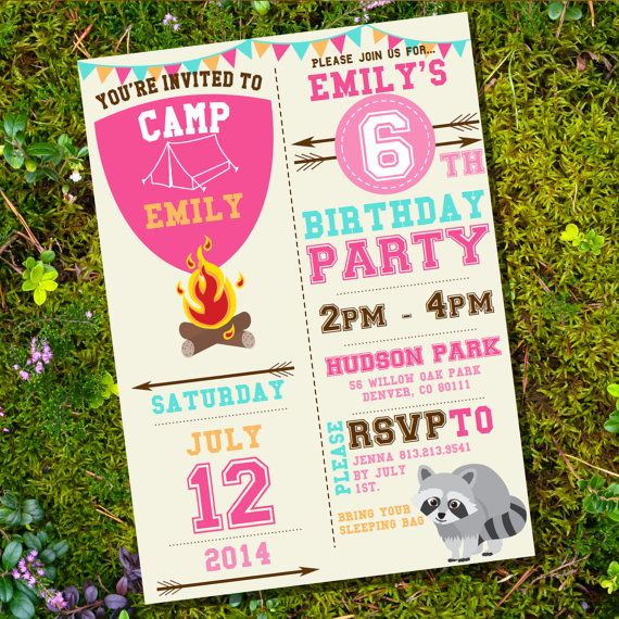 Camping Party Invitation for a Girl - Camp Out - Instant Download - Editable File - Personalize at home with Adobe Reader