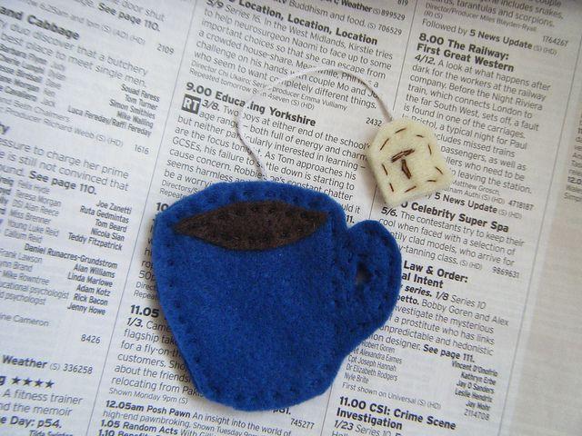 Felt Tea cup bookmark.