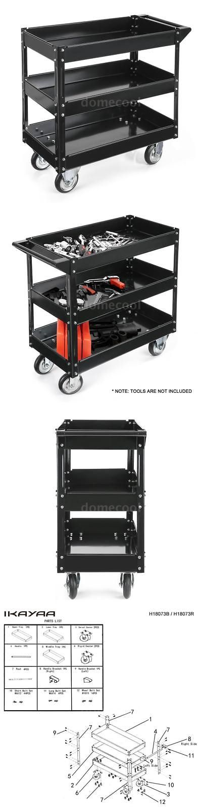 Garden Kneelers Pads and Seats 75669: Ikayaa Metal Rolling Tool Cart Storage Box Wheels Storage Trays 3 Shelves T3a7 -> BUY IT NOW ONLY: $58.95 on eBay!