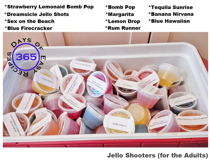 11 AMAZING Jello Shooter Recipes - a summer weekend is not complete without them | 365 Days of Easy Recipes