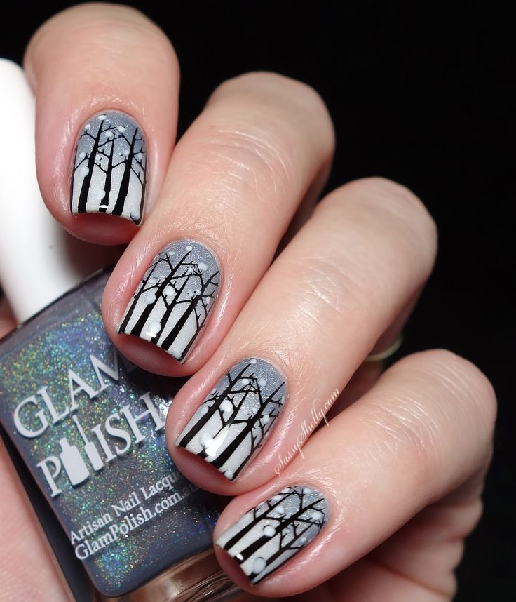 Frozen Forest Winter Nail Art with Bundle Monster stamping  |  Sassy Shelly