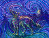 Spirit Wolf Energy Painting - Giclee Print