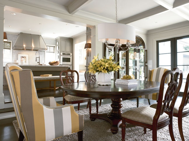 Fredericksburg Dining Table Side Chairs Plus Vernon Striped Chair