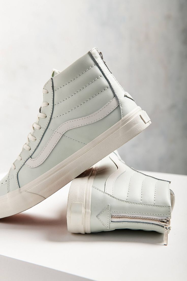 Slide View: 1: Vans Leather Sk8-Hi Slim Zip Sneaker