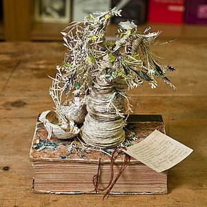 The Scottish book sculptures are a group of book sculptures that were found in Scotland between 2011 and 2012. The sculptures are on topics mostly concerning Scottish literature and poetry, and are made out of old books by an anonymous female paper sculptor. A contemporary mystery!
