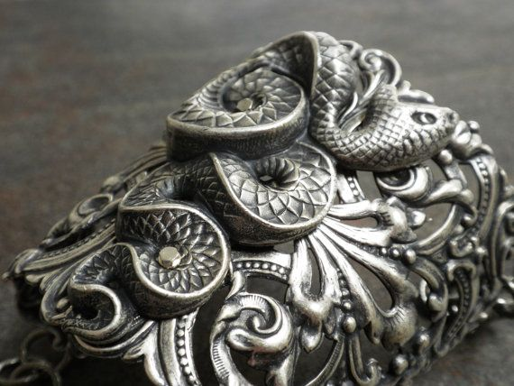 Silver Statement Cuff Snake Bracelet Egyptian Revival Handmade Jewelry