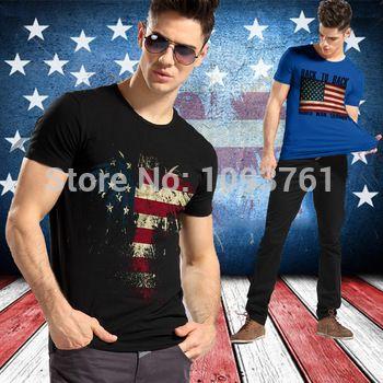 2014 mode casual usa vlag mannen overhemd man Amerikaanse vlag fitness korte- mouwen mannen camisetasclothing man