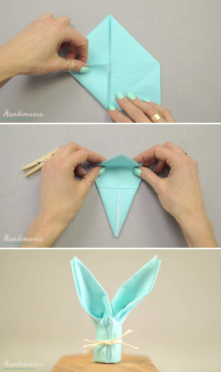 17 best images about napkin folding ideas on pinterest trees christmas trees and origami - Fold bunny shaped napkin ...