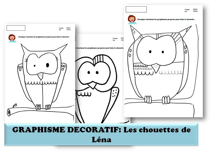 MATERNELLE-GRAPHISME-AUTOMNE-la chouette- graphisme décoratif - laclassedelena
