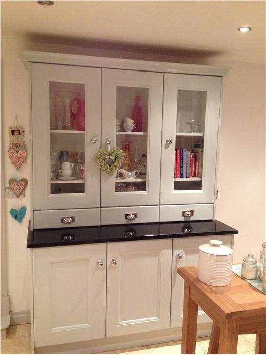 Kitchen dresser in Skylight. Ceiling and Walls in All White.  An inspirational image from Farrow and Ball