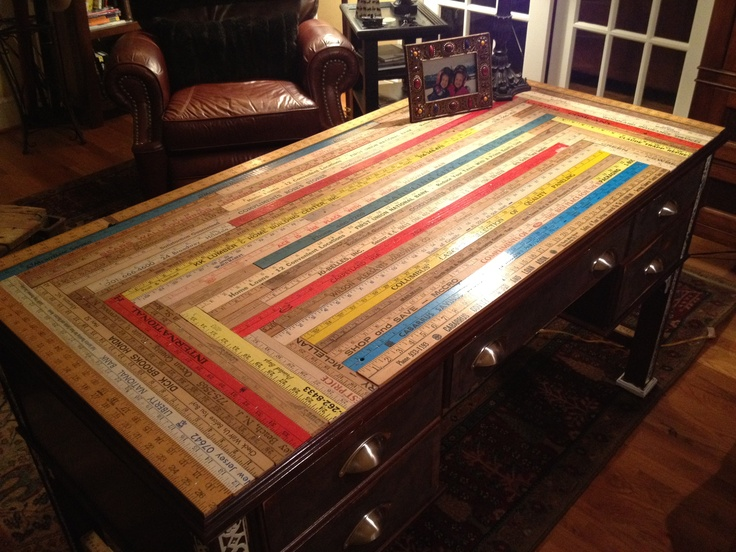 Resurfaced Desk With Yardsticks