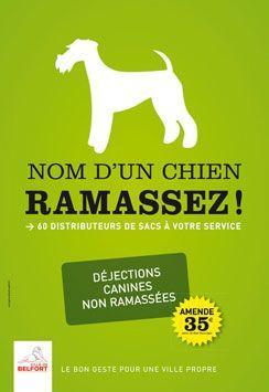 Nom d'un chien, ramassez !  Belfort fait campagne pour une ville propre. Communication réalisée par l'agence.
