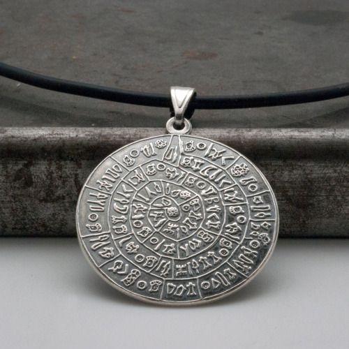 Greek Phaistos Disc Necklace, Ancient Minoan Cretan Necklace, Unisex Sterling Silver Pendant, Greek Mystery, Wearable Art, Greek Jewellery