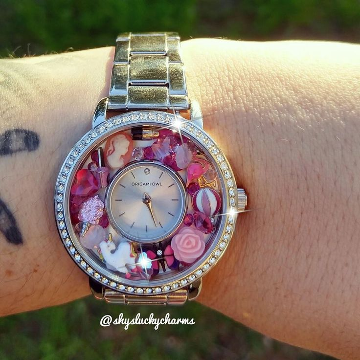 Go Pink! Origami Owl locket watch. Now available. https://dreambig.origamiowl.com/ #giftsforher #unicorns #pink #jewelry #watches #locketwatch