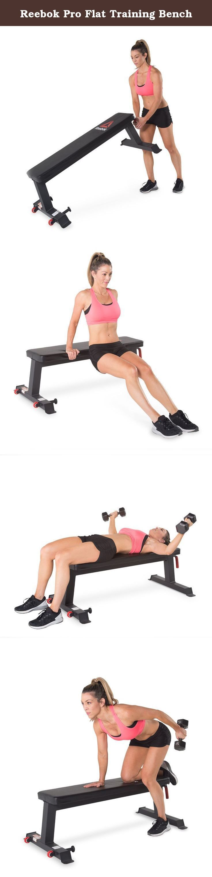 """Reebok Pro Flat Training Bench. With the Reebok Pro flat bench, the possibilities are endless. Featuring high density foam cushioning, the 10"""" x 47.5"""" bench provides a comfortable and sturdy surface for Weightlifting, with a 17"""" ground clearance for greater stability and reduction of back arch through your lift. Taking the weight bench back to basics, the Reebok Pro flat bench is straight forward to assemble whilst its integrated wheels and handle make it easy to manoeuvre. For all levels…"""