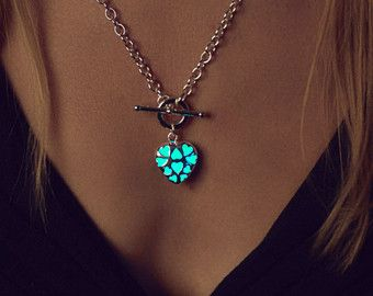 Small Aqua Glowing Necklace Heart Necklace Glow in by EpicGlows