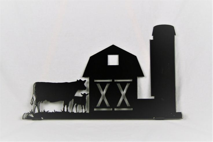"Barn and Cows Metal Mailbox Topper. Barn and Cows Farmhouse Mailbox Topper Metal Mailbox topper is cut from steel about as thick as a nickel. Tabs are bent for attachment to mailbox. This large mailbox topper is 17"" wide and 10"" tall. It fits onto standard mailboxes and looks size-appropriate on large boxes as well! Sign has been powder-coated glossy black for a durable and long-lasting finish. You will need to drill 2 holes into top of box, so washers are required to prevent moisture…"