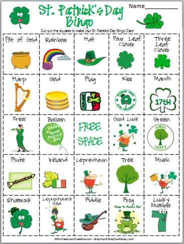 Create a St. Patrick's Day bingo game with this free 3 page printable. For best results print in color, cut, and laminate.