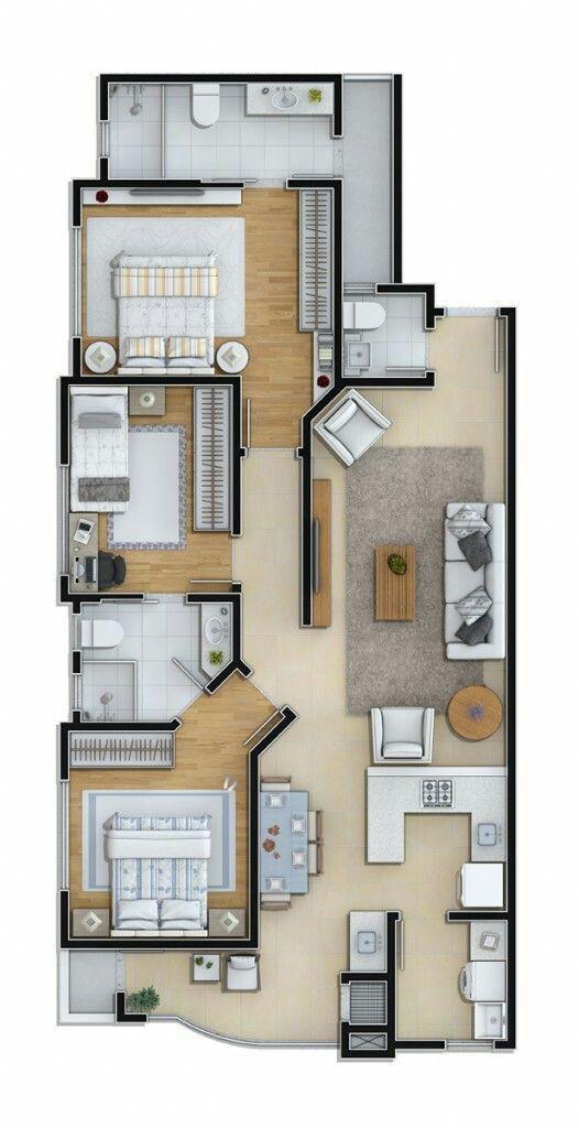 Melhores 12 Esta inspiração de design traz uma casa moderna com piscina, três …   – construção