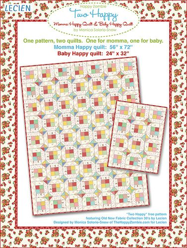 Two Happy quilt pattern - freebie from meebie by Happy Zombie, via Flickr