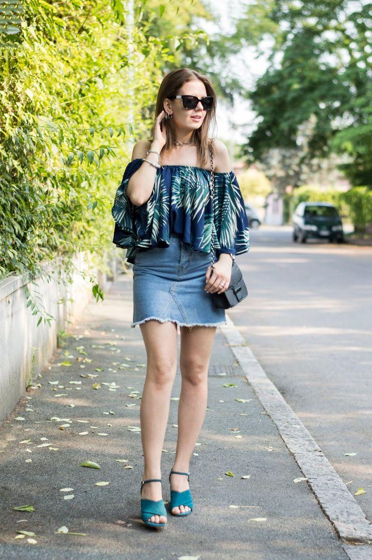 PALM PRINTS: LA TENDENZA TROPICALE IN CITTÀ #tropical #offtheshoulder #denim #shein #fashion#ootd