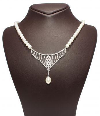 Gümüş İnci Kolye, Beyaz