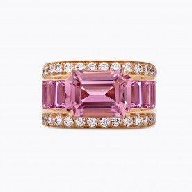 Sortija de oro rosa con turmalina rosa con talla esmeralda y baguettes de turmalina rosa con diamantes - Géométrie - Colecciones