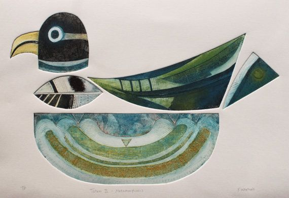 Totem II Metamorphosis, Signed Original collagraph (collograph) by Francesca Whetnall, available on Etsy.: Collagraph Collograph, Ii Metamorphosis, Printmaking, Bird Art, Original Collagraph