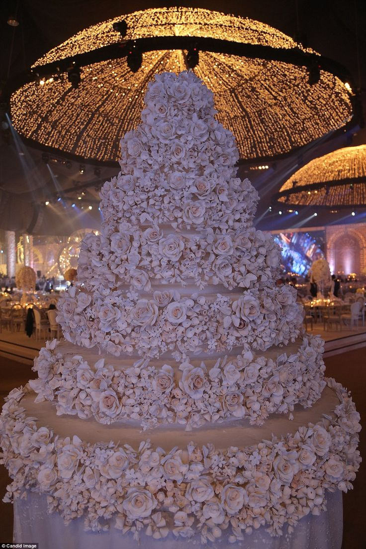 an enormous seven tier wedding cake was the centre piece for their fairytale nuptials