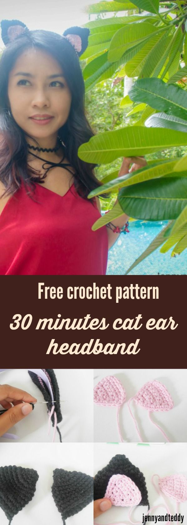 free crochet pattern 30 minutes cat ear headband easy and quick perfect for last minutes Halloween costume or a party and have fun dress up with easy to follow tutorial on jennyandteddy.