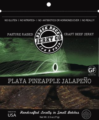PLAYA PINEAPPLE JALAPENO  Made with pastured beef brisket.  A tender, sweet and mildly spicy jerky.  The Playa of the Black Rock Desert sits at 3848' and is approximately 200 square miles. It is one of the largest flat surfaces on the Earth... so large that is can actually be distinguished from space.  The Playa is bone dry most of the year and can flood and freeze in the winter.    The allure of the Black Rock Playa can set fire to the imagination.