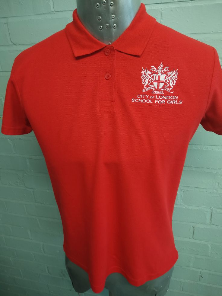 Sixth Form Helper Printed Polo T-Shirts for City of London School for Girls – Print is in White on our Red Polo T-Shirt.