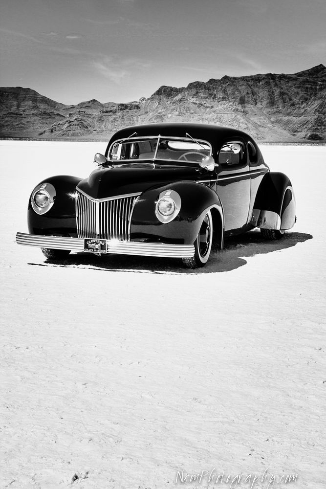 12x18 in. Poster, Vintage 1939 Ford Coupe Bonneville Racer Garage Art Man Cave