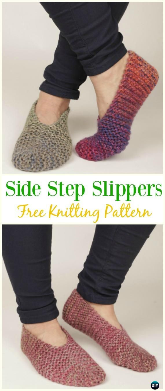 Side Step Slippers Free Knitting Pattern - #Kniting; Adult #Slippers Free Patterns
