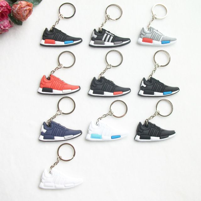 Mix 10pcs/lot New Mini Silicone NMD Keychain Jordan Key Chain Key Ring, Sneaker Keychain Men Key Holder for Woman and Girl Gifts
