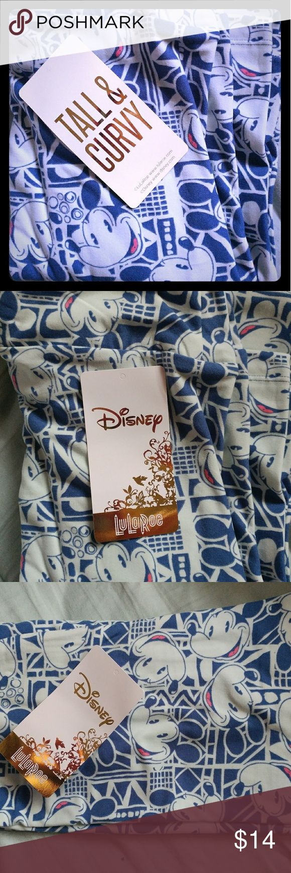 """Lularoe TC Disney Mickey Mouse leggings bnwt Blue """"old school Mickey"""" bnwt TC Lularoe leggings. Super cute and buttery soft - removed from plastic for the picture only. Listed as size 12 because they generally tend to fit a size 12-18/20 or so. Please let me know if you have any questions or need more pictures! Thank you! LuLaRoe Pants Leggings"""