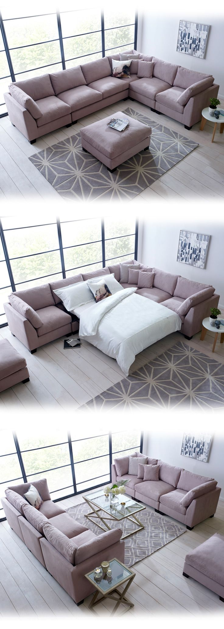 The Isabelle corner sofa bed is perfect for unique spaces. A comfortable, spacious and practical way of saving space in the home. Buy today | LIVING IT UP