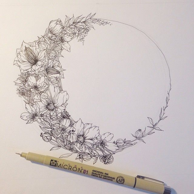 Floral crescent moon for a wild, bohemian suite.