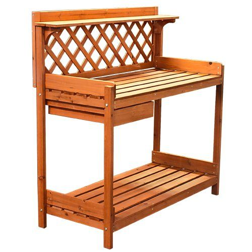 Best Choice Products® Potting Bench Outdoor Garden Work Bench Station  Planting Solid Wood Construction Best