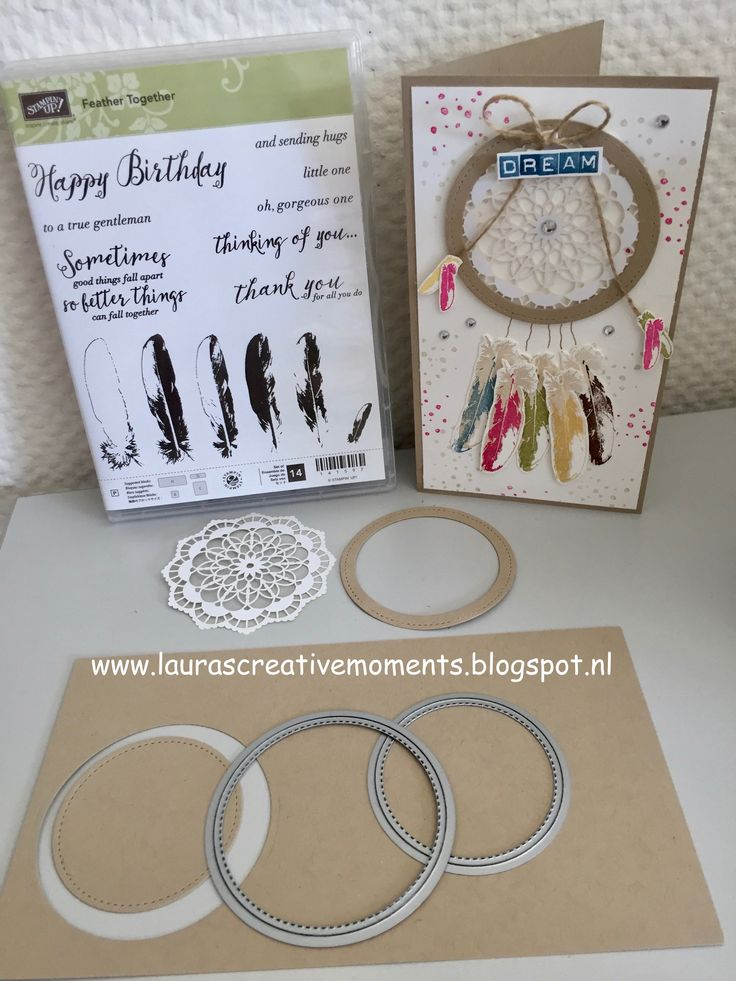 Feather Together and the Stitched from the Heart framelits, Stampin' Up! - a dream catcher card idea - DREAM