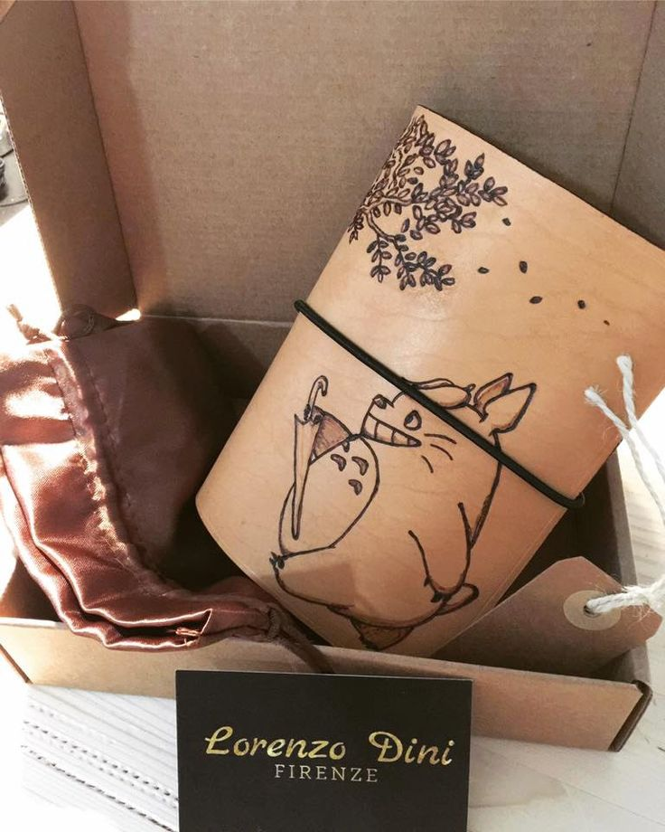 Traveler's Notebook -Midori- tema Totoro - pelle al naturale -tutti i formati disponibili- disegno con pirografo - 100% made in Italy di LorenzoDiniFirenze su Etsy