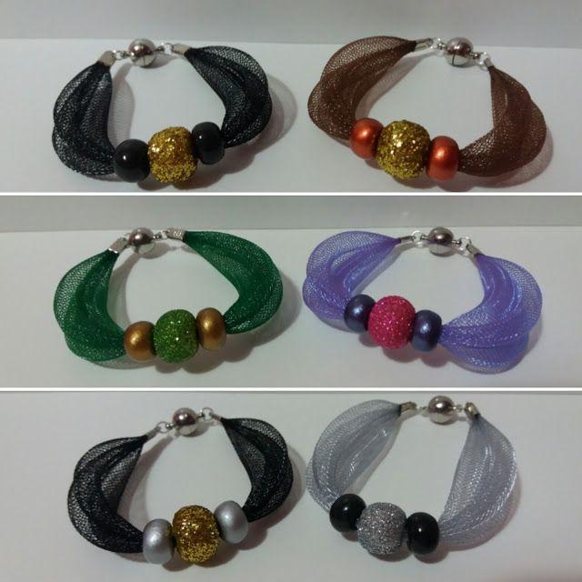 Bracciali con rete tubolare e perle in pasta di mais, glitterate e metallizzate