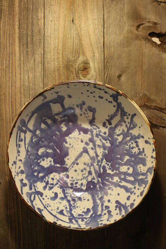 Large Fruit Bowl or Serving Dish with Blue Splatter Paint