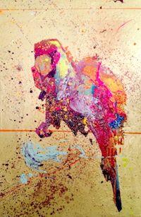 Guacamaya tropical bird parrot modern painting contemporary art mixed media over canvas geometric - IG @gabewong1
